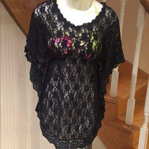 NWOT Bundled black lace bathing cover & bikini top
